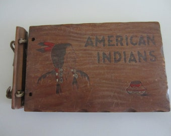 Indians of America 1935 Book With Wooden Cover by Lillian Davids Fanzzini