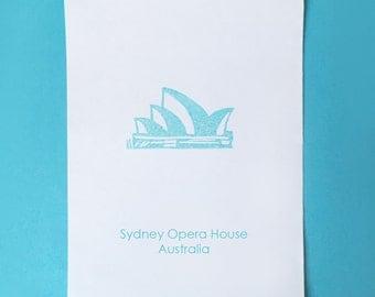 Sydney Opera House - Australia Stamp Sydney Stamp World Attraction Stamp World Landmark Stamp World Rubber Stamp Monument Stamp Country