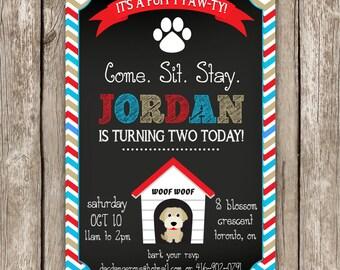 Puppy Dog Invitation - Puppy Pawty - Doggy Birthday Party - DIY Printable
