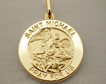 Gold Plated St Michael Patron Saint of Police Officers & Military Personnel Pendant Medal + Chain Option - Personalised Religious Jewellery