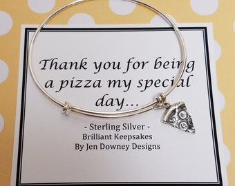 Funny Pizza Pun Thank You Gift Bridesmaid Sterling Silver Bangle
