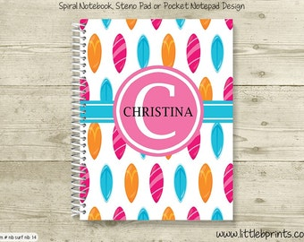 Pink Orange & Blue Surfboards Personalized Spiral Notebook Back to School Notebook