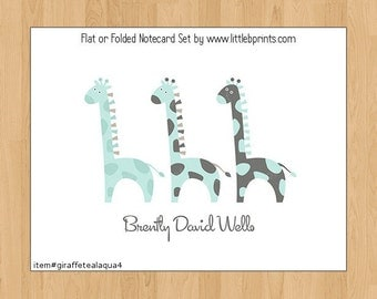 Giraffe Baby Note Cards Set of 10 personalized flat or folded cards Giraffes Blue