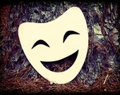 Happy Mask Unfinished Wooden Craft Shape, Do-It-Yourself