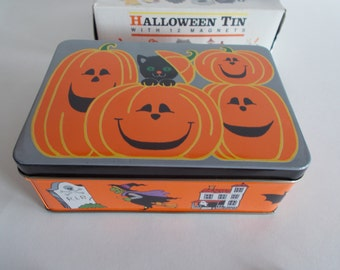 Vintage J.S.N.Y. Halloween Small Tin Can With Halloween Magnets