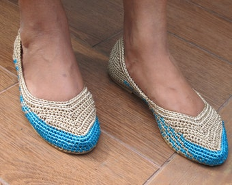 Beige and Blue Crochet Shoes/Beige and Blue Crochet Ballet Shoes