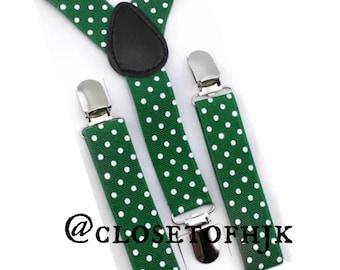 green polka dot suspenders,boy suspenders,polka dot suspender,baby suspenders,wedding suspenders,toddler suspender,green suspenders