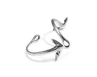 30% OFF Half Bracelet/Cuff Anchor/Arrow 54x4mm - Antique Silver  - High Quality Metal Casting Qty. 1