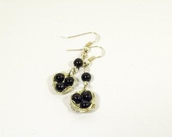Birds Nest Earrings - Dangle Black and Silver Round Black Beads Earrings