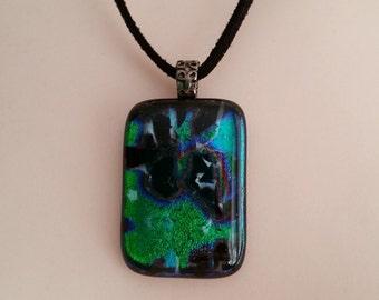Dichroic Fused Glass Pendant on Black Micro Fiber Suede Cord