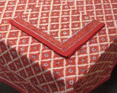 Burnt Orange Diamond Indian Block Print Tablecloth Cotton Eco Friendly
