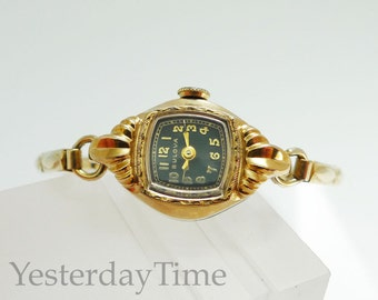 Bulova Vivian Women's Watch 1951 Rolled Gold Case Swiss Made Manual 17 Jewel Movement