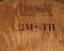 """French Oak Wine Barrel Head Lazy Susan with beautiful French branding! Vintage 08 and the French """"Qualite Certifee"""" clearly visible."""