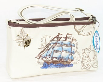 Small Shoulder Bag - Leather Cross Body Bag - Clipper Ship Embroidered Handbag - Ocean Sailing Purse
