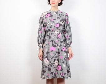 Vintage 60s Dress Steel Gray Pink Floral Print Midi Knee Length Secretary Dress 1960s Dress Joan Mad Men Dress L Dress Large Dress