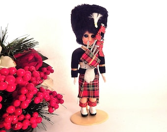 "Scottish Bag Pipe Player Doll 8"" Sleepy Eye Bearskin Cap Tartan Kilt Boy Heritage Doll with Stand Vintage 1960s Collectible Display Figurine"
