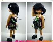 Sale 25% Off BJD YoSD 1/6 Doll clothing - Christmas Dress in Mittens on Black