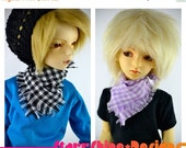 Sale 25% Off BJD MSD 1/4 Doll Accessories - Gingham Plaid Handkerchief Scarf - Your Choice of 5 Colors