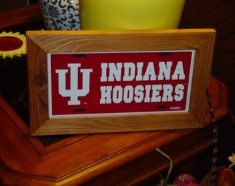 FREE SHIPPING Indiana University Hoosiers License Plate Sign Framed cedar 6x12 metal display