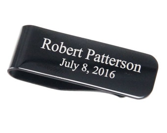 Personalized Stainless Steel Black Money Clip
