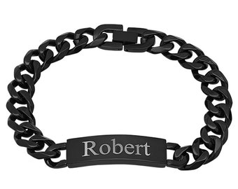 Personalized Quality Black Stainless Steel Bracelet - Free Engraving