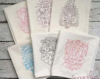 Kitchen Towel Set of 6, Flour Sack Towels, Wedding Gift, Housewarming Gift, Hostess Gift