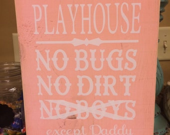 Distressed girls playhouse sign