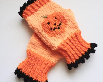 Jack O Lantern Gloves, Hand Knit Mits, Fingerless Hand Warmers, Halloween Gloves, Fall Wrist Warmers, Texting Gloves, Orange Mittens