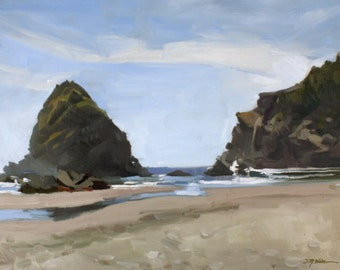 "Whaleshead Beach, Brookings Oregon Coast, Plein Air Landscape Painting, 16x20"", Oil on Canvas, Signed Original, American Impressionist"