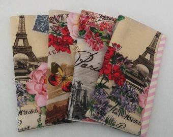 Eyeglass fabric case - City of Paris landmarks and roses padded glasses case