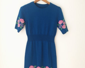 1980s Blue Flower Embroidered Sweater Mini Dress