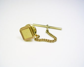 Vintage Tie Tack, Tie Pin, square, gold tone, MAD MEN, Men Wedding Jewelry, Tie Accessory, Tie Tac, Groom Best Man Gift, Mens Accessories