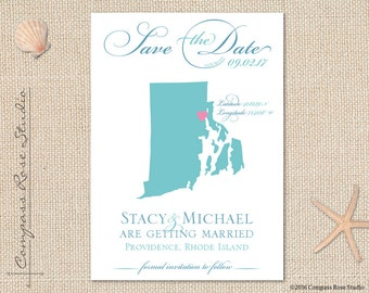 Custom Wedding Map, State Map Save The Date, Rhode Island Save The Date, Destination Wedding Save The Date, Elopement Reception, Any State