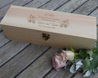 1x Engraved Wooden Wine and Champagne Box - Natural
