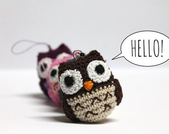 Amigurumi Crochet Owl / Owl KeyChain / Owl Phone Strap / Owl phone charm / Crochet owl keychain / Miniature crochet owl