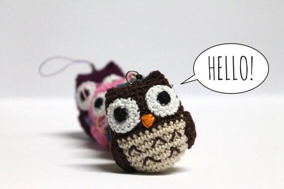Amigurumi Penguin Cell Phone Strap : Amigurumi Crochet Owl / Owl KeyChain / Owl Phone Strap / Owl