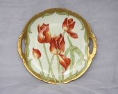 Limoges Plate - Limoges Elite Works Bawo Dotter Limoges France China - Antique Hand Painted Plate - Red Tulips - Artist Signed - Cake Plate