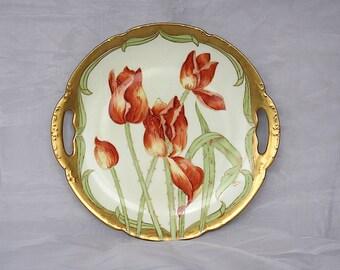 Limoges Plate - Decorative Plate - Limoges France - Red Tulip Decor - Limoges China Plate - Floral Plate - Spring Decor - Bawo Dotter Elite