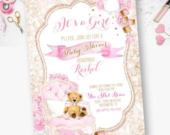 Teddy Bear, Babyshower, Teddy Bear Baby Shower Invite, Bear, Girl Teddy Bear Baby Shower Invite - YOU PRINT