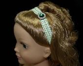 Doll Headband, Christmas Green Bling with Holly print Elastic.