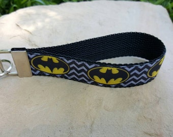 Wristlet keychain, key fob wristlet, wrist keychain, wristlet, batman, super hero wristlet