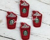 UNCUT Frappuccino Coffee Cup felt applique embellishment feltie patches (4)