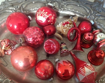 17 antique red Mercury glass Christmas ornaments