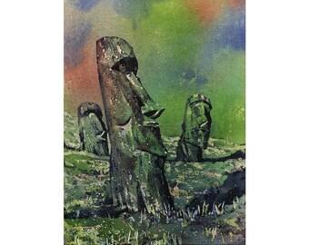 Moai statues on Easter Island- Chile.  Easter Island art Moai watercolor.  Watercolor painting.  Watercolor art.  Art print.  Giclee print.