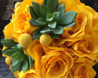 Wedding Bouquet, Yellow Rose Bridal Bouquet, Yellow Rose Succulent Bouquet, Yellow Bouquet, Yellow Wedding Yellow billy button bouquet
