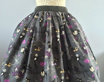 Ladies or girls Nightmare before Christmas full skater style skirt