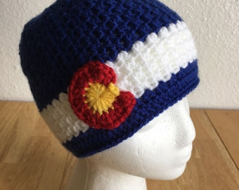 Crochet Signature Colorado Beanie- Baby, Child, Teen, Adult sizes, Colorado hat, Colorado flag hat, Colorado Hat, Ski, Skiing, Snowboarding