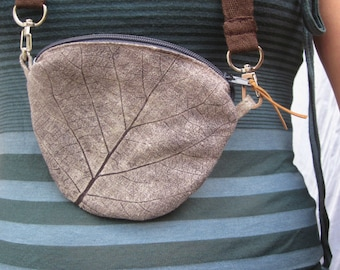 Small Neck Bag, Wallet Case with Neck Strap, neck pouch, hand printed bag, mini bag, handprinted linen, leaf stamp