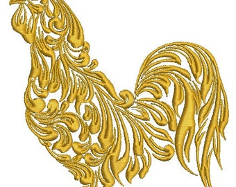golden rooster  machine embroidery Design, Instant Download