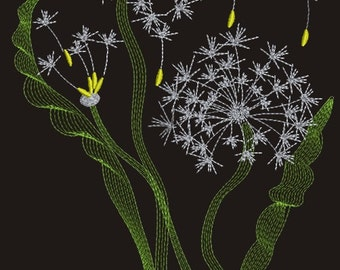 Dandelion machine Embroidery Designs - three sizes